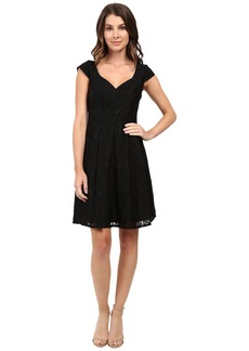 Adrianna Papell Seamed Juliet Lace Fit and Flare Dress