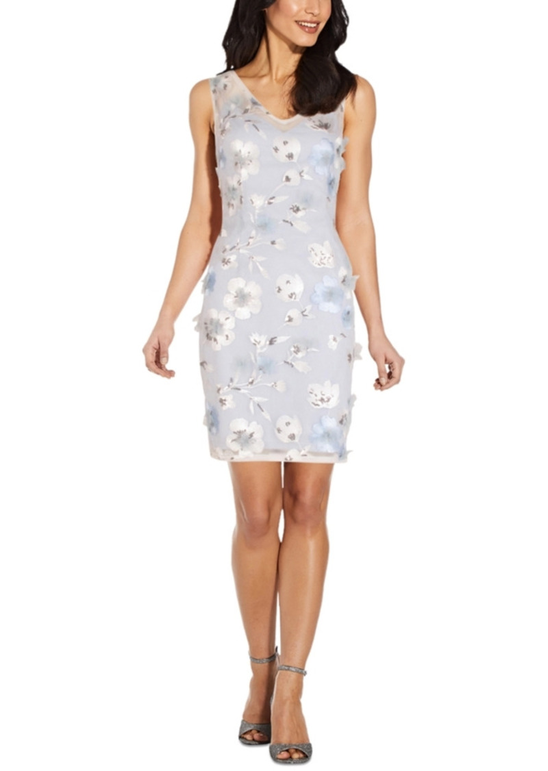 Adrianna Papell Sequin Applique Sheath Dress