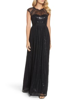 Adrianna Papell Sequin Chantilly Lace Gown