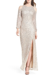 Adrianna Papell Sequin Cold Shoulder Gown