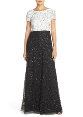 Adrianna Papell Sequin Colorblock Gown (Regular & Petite)