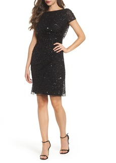 Adrianna Papell Sequin Cowl Back Dress