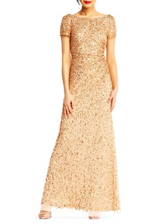 Adrianna Papell Sequin Cowl Back Gown (Regular & Petite)