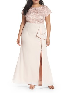 Adrianna Papell Sequin Embroidered Bodice Gown (Plus Size)