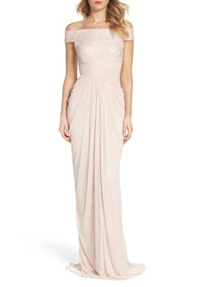 Adrianna Papell Sequin Lace & Tulle Gown