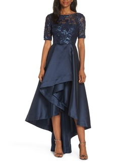 Adrianna Papell Sequin Lace High/Low Evening Dress