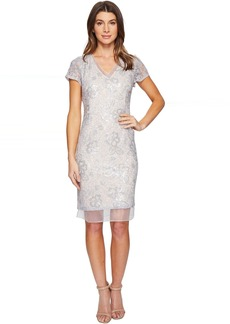 Adrianna Papell Sequin Lace Organza Sheath Dress