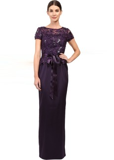 Adrianna Papell Sequin Lace Top with Column Gown
