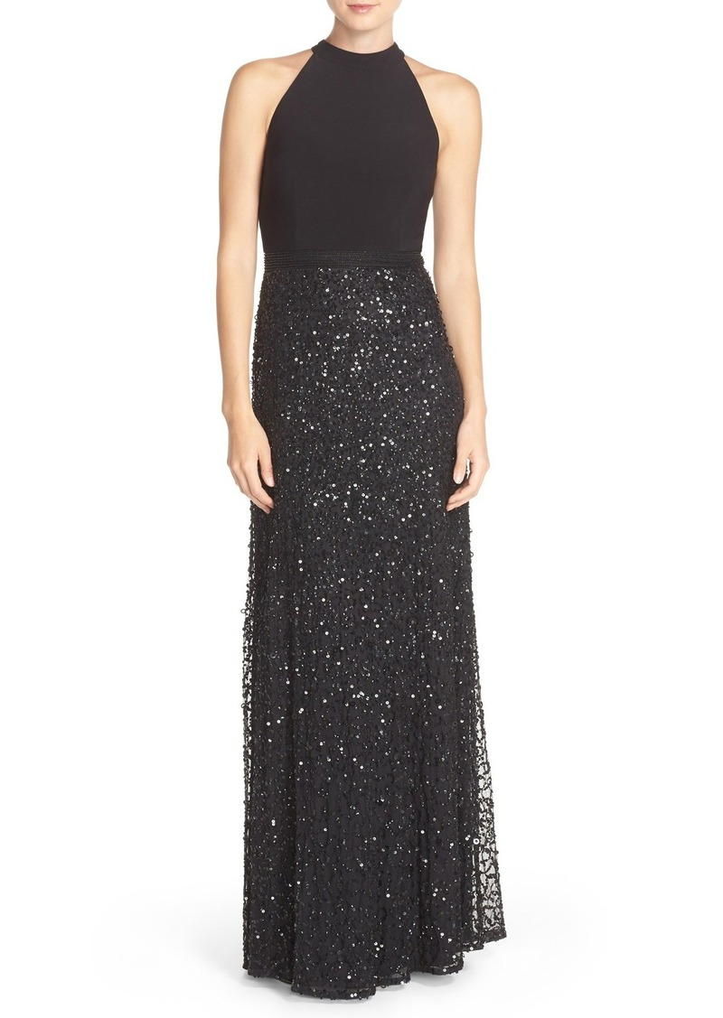 Adrianna Papell Sequin Mesh & Jersey Gown