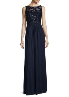 Adrianna Papell Sequin Mesh Stretch Floor-Length Gown