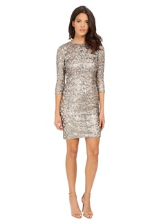 Adrianna Papell Sequin Shift Dress w/ Necklace