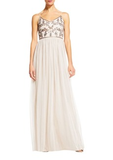 Adrianna Papell Sequined and Shirred Gown