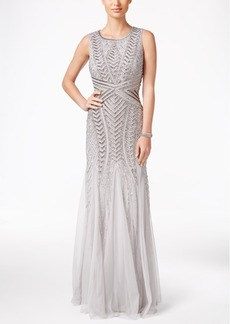 Adrianna Papell Sequined Beaded Tulle Mermaid Gown