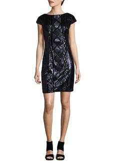 Adrianna Papell Sequined Cap Sleeve Mini Dress
