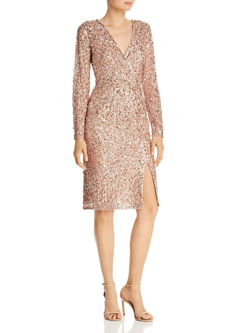 Adrianna Papell Sequined Faux-Wrap Dress