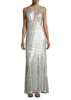 Adrianna Papell Sequined Halter Gown