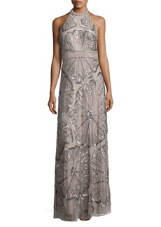 Adrianna Papell Sequined Halterneck Gown