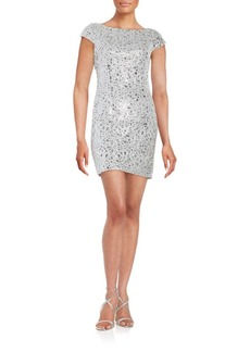 Adrianna Papell Sequined Lace Cap-Sleeve Sheath Dress