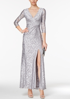 Adrianna Papell Sequined Lace Faux-Wrap Gown