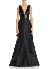Adrianna Papell Sequined Mikado Gown