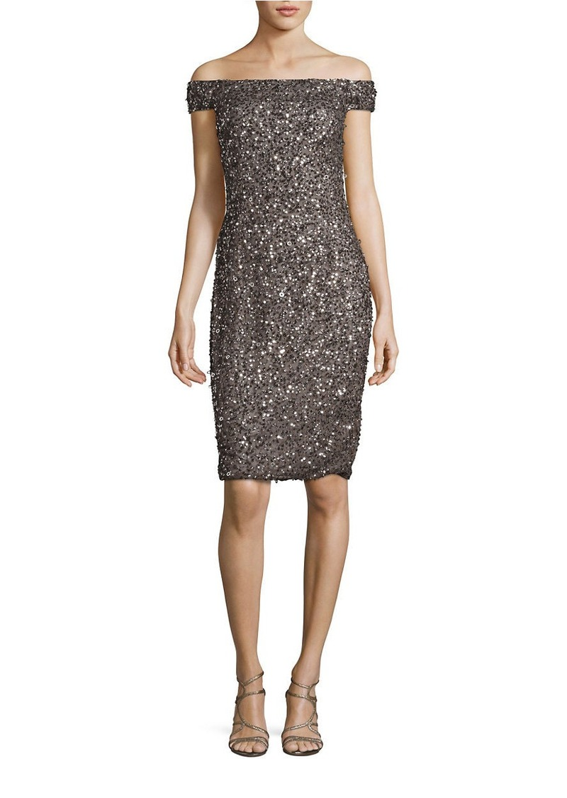 ADRIANNA PAPELL Sequined Off-the-Shoulder Sheath Dress