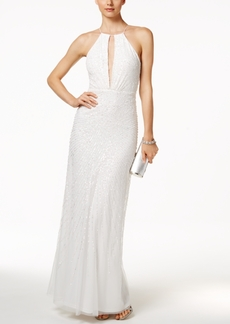 Adrianna Papell Sequined Open-Back Halter Dress