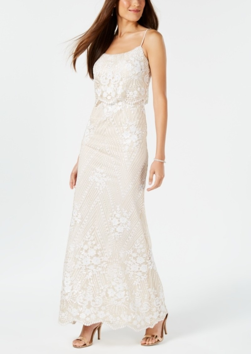 Adrianna Papell Sequined Popover Gown
