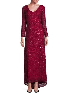 Adrianna Papell Sequined V-Neck Dress