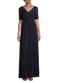 Adrianna Papell Sequins and Lace Sleeve Floor-Length Gown
