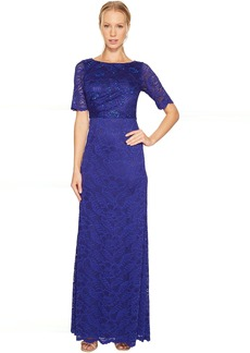 Adrianna Papell Shirred Stretch Lace Gown