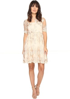 Adrianna Papell Short Elbow Length Embroidered Party Dress