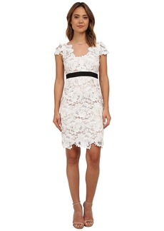 Adrianna Papell Short Sleeve 3D Guipure Cocktail Dress