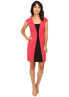 Adrianna Papell Short Sleeve A-Line Color Block Dress