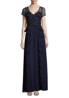 Adrianna Papell Short Sleeve Beaded Column Gown