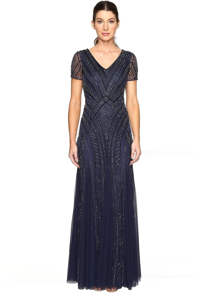 Adrianna Papell Short Sleeve Illusion Neck Beaded Gown   Dresses ...