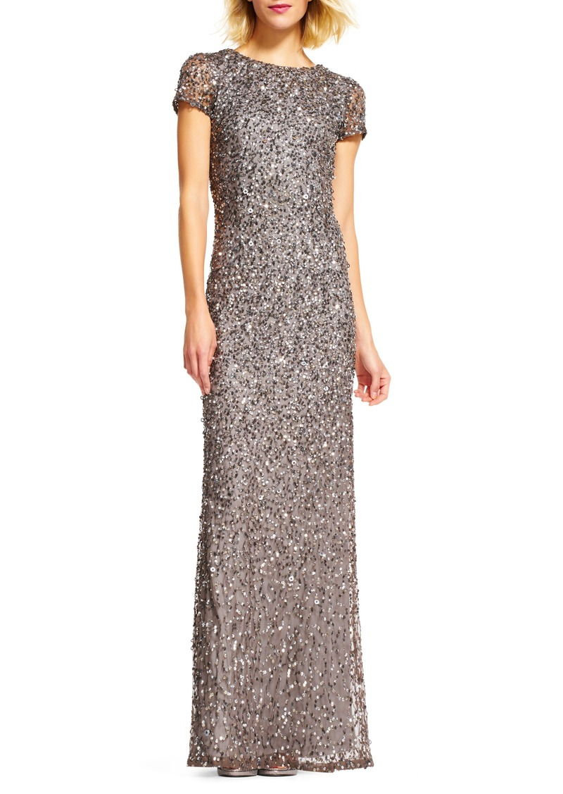 cfcb3af7 Adrianna Papell Adrianna Papell Short Sleeve Sequin Mesh Gown   Dresses