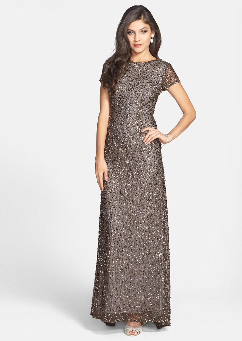 7a544e8b Adrianna Papell Adrianna Papell Short Sleeve Sequin Mesh Gown ...