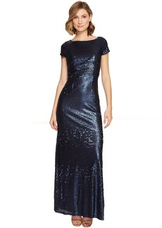 Adrianna Papell Short Sleeve Sequin T Shirt Gown