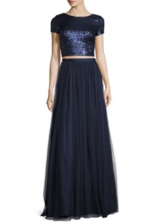 Adrianna Papell Short Sleeved Crop Top and Skirt Gown Set