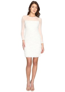 Adrianna Papell Shutter Tuck Lace Sheath Dress