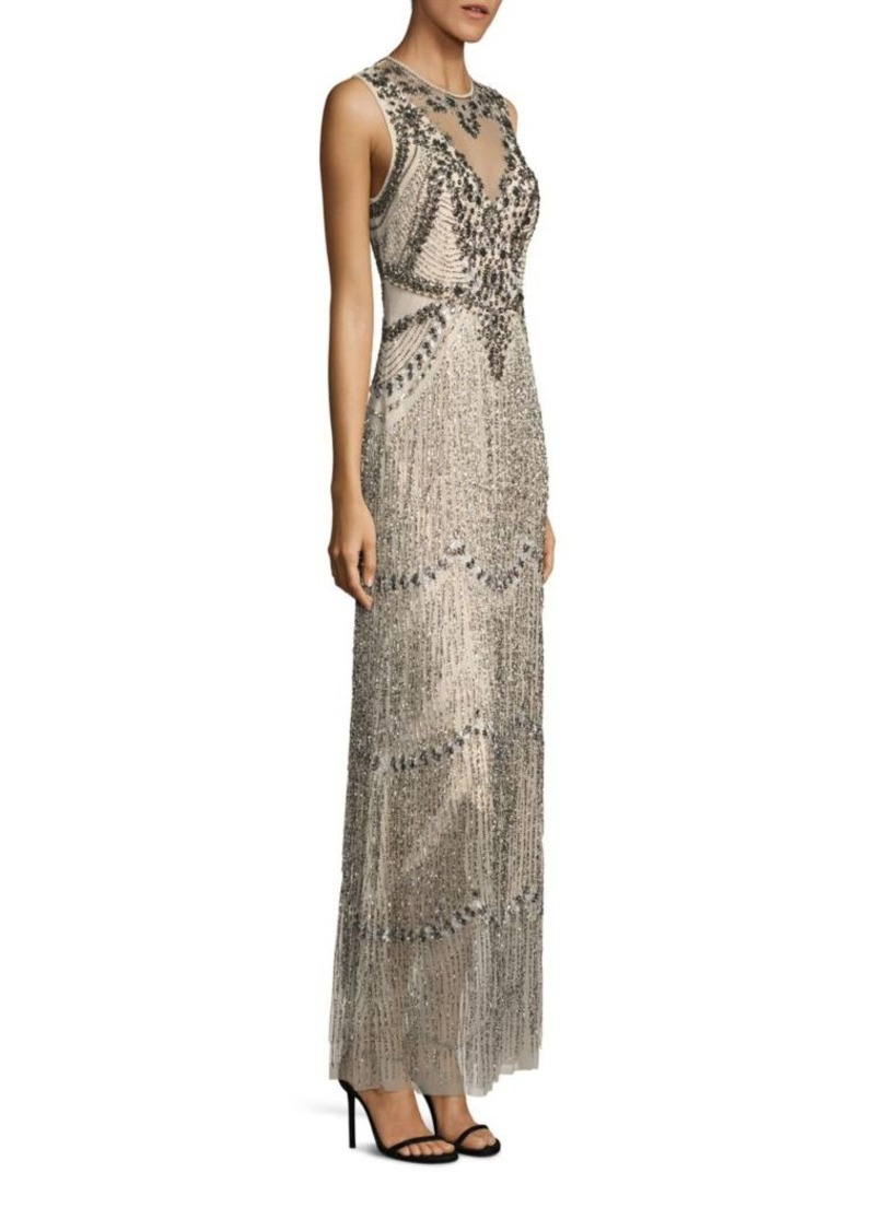 SALE! Adrianna Papell Sleeveless Beaded Fringe Gown