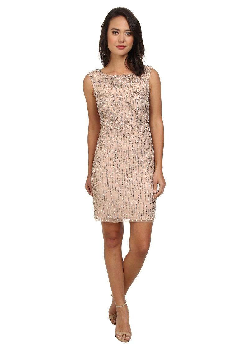 Adrianna Papell Sleeveless Fully Beaded Cocktail Dress