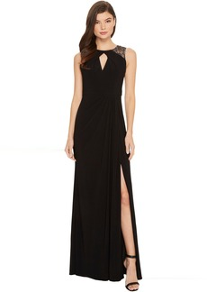 Adrianna Papell Sleeveless Jersey Gown with Illusion Lace Shoulder