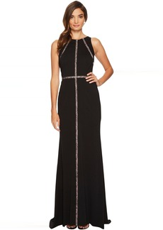 Adrianna Papell Sleeveless Jersey Halter Gown with Nude Lace Illusion Detail