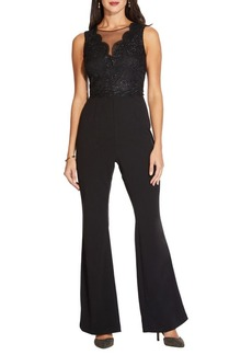 Adrianna Papell Sleeveless Lace Knit Crepe Jumpsuit