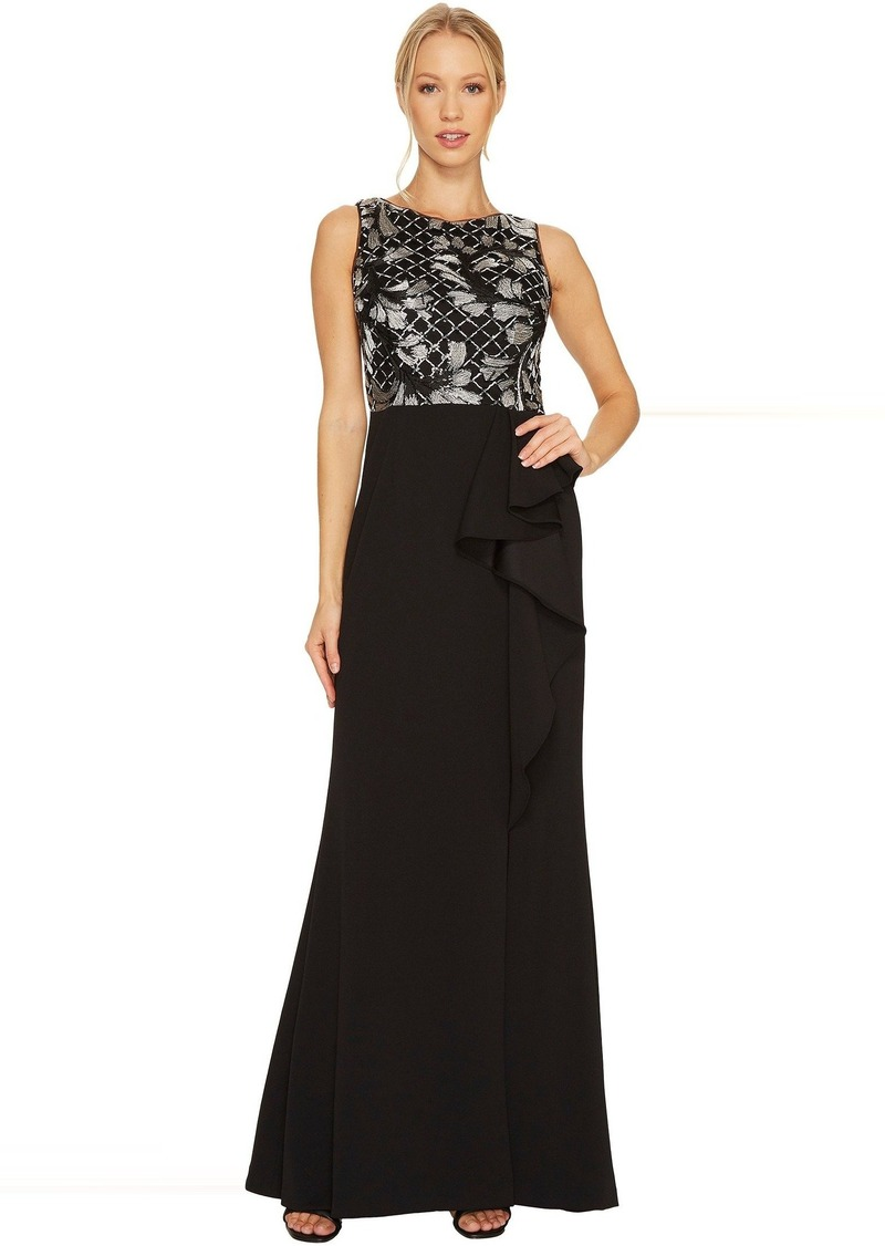 Adrianna Papell Sleeveless Long Crepe Gown with Embroidered Bodice ...