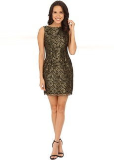 Adrianna Papell Sleeveless Metallic Lace Cocktail Dress