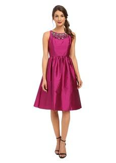 Adrianna Papell Sleeveless Mid Length Beaded Taffeta Party Dress w/ Mesh Yoke