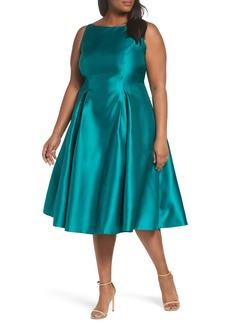 Adrianna Papell Sleeveless Mikado Fit & Flare Midi Dress (Plus Size)