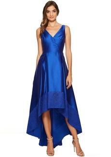 Adrianna Papell Sleeveless Mikado High-Low Gown with Lace Border Hem